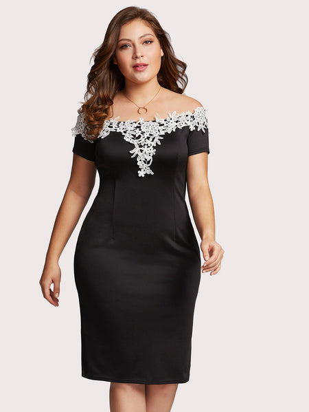 Plus Off Shoulder Lace Applique Trim Dress