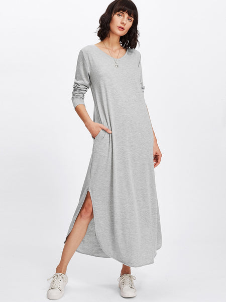 Side Slit Marled Knit Maxi Tee Dress