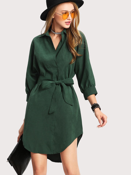 Curved Hem Belted Shirt Dress