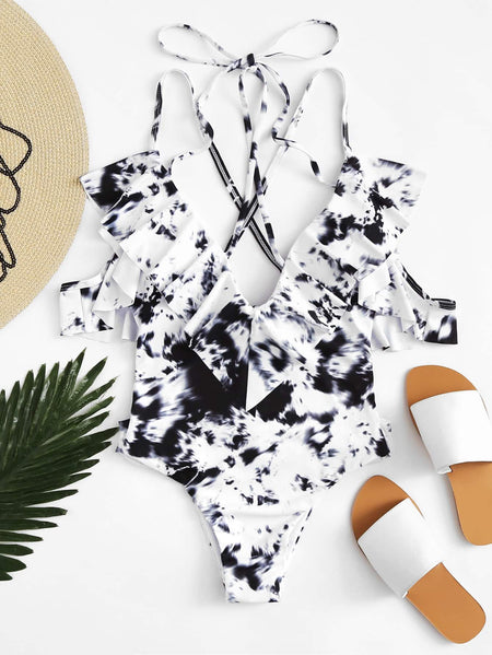 Tie Dye Ruffle Tie Back One Piece Swimsuit