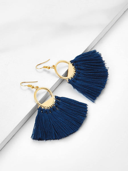 Fan Shaped Tassel Earrings 1pair
