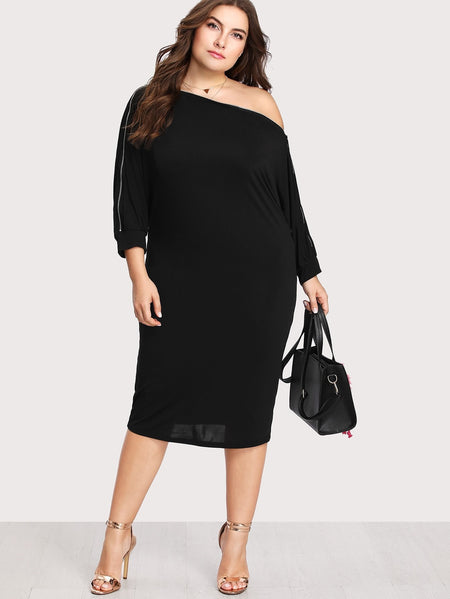 Plus Zip Sleeve Dress