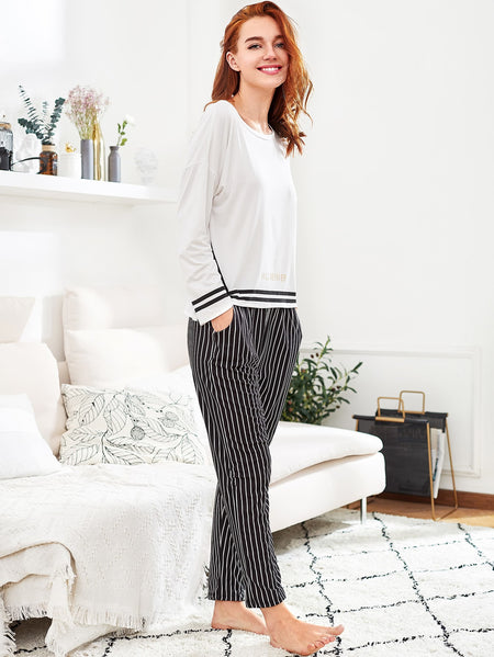 Zigzag Print Long Pajama Set