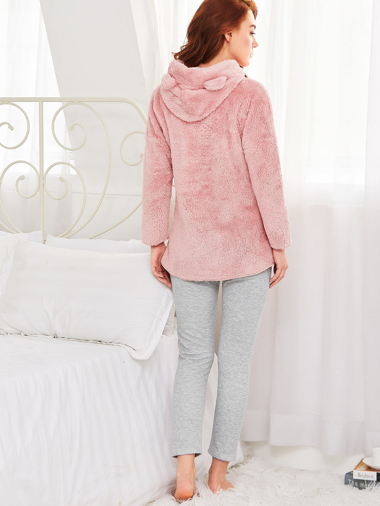 Ears Detail Plush Hoodie & Marled Leggings Pj Set