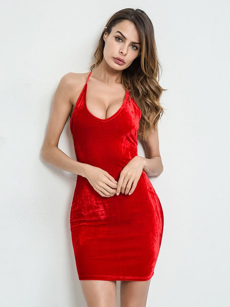 Lace Up Back Velvet Bodycon Cami Dress