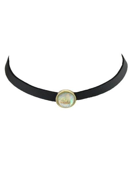 White Choker Necklace With White Black Beads Gothic Jewelry