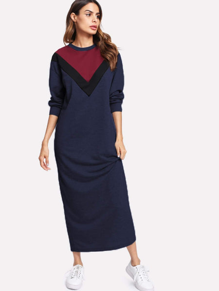 Colorblock Chevron Maxi Sweatshirt Dress