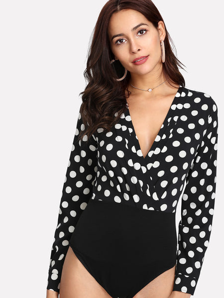Polka Dot Wrap Bodysuit