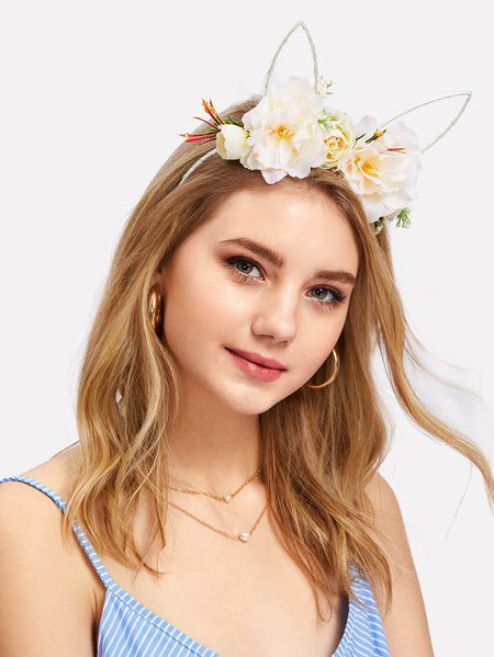 Flower Decorated Ear Headband