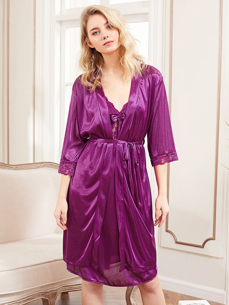 Contrast Lace Satin Slip Dress With Robe