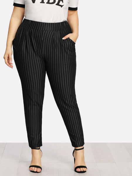 Plus Pinstriped Pockets Pants