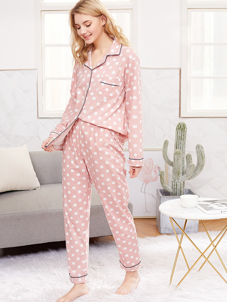 Contrast Piping Polka Dot Pyjama Set