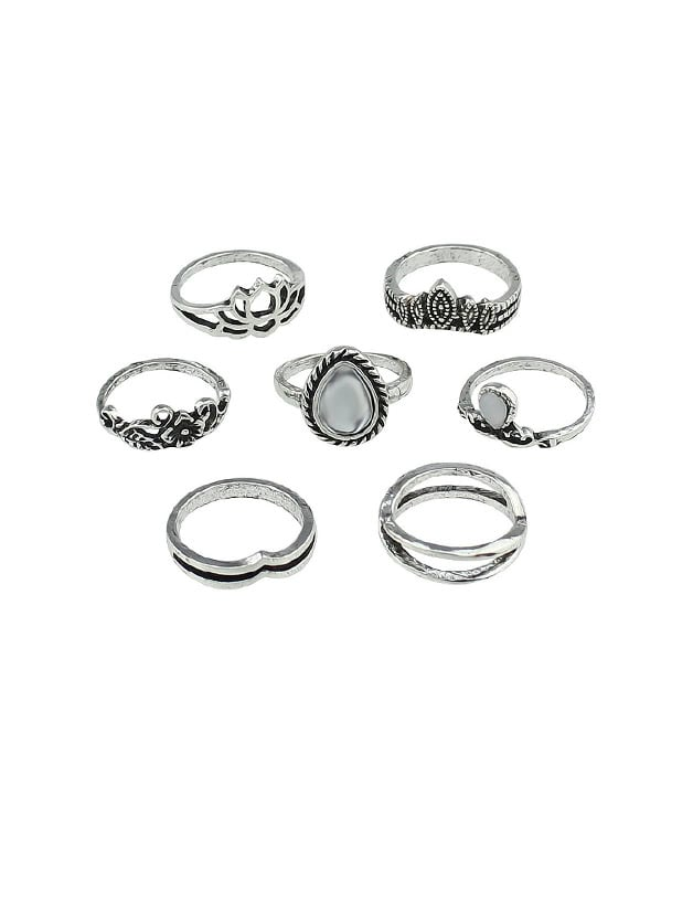 At-Silver 7Pcs/Set Flower White Opal Rings