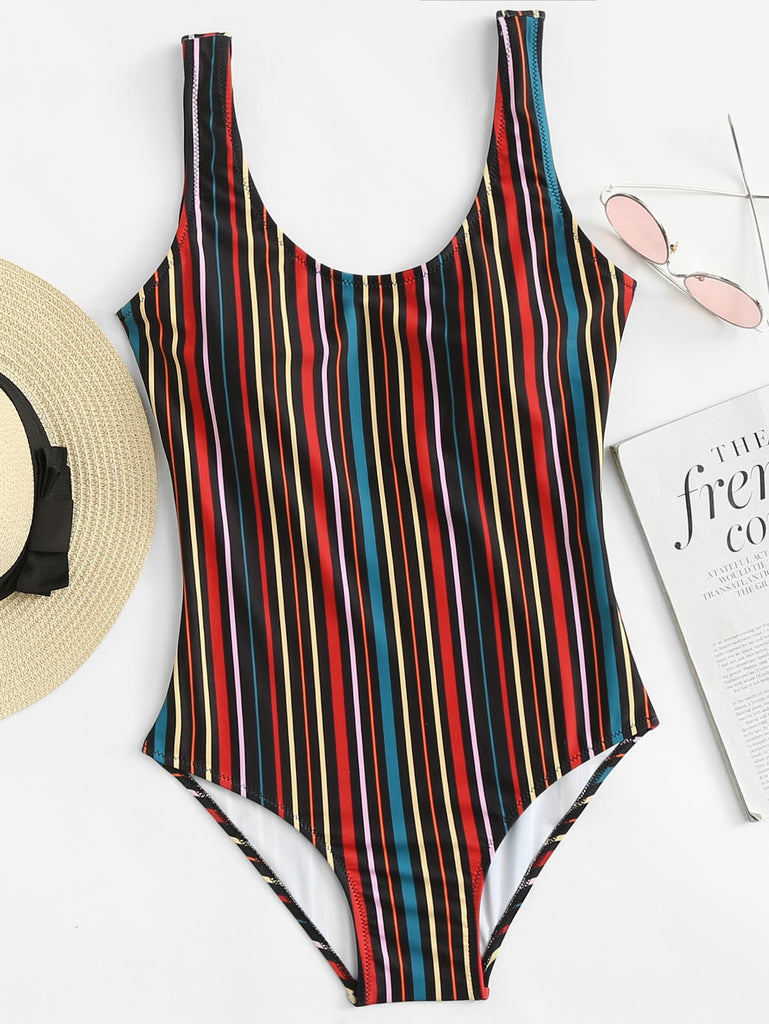 Vertical Striped U Back One Piece Tank Swimsuit