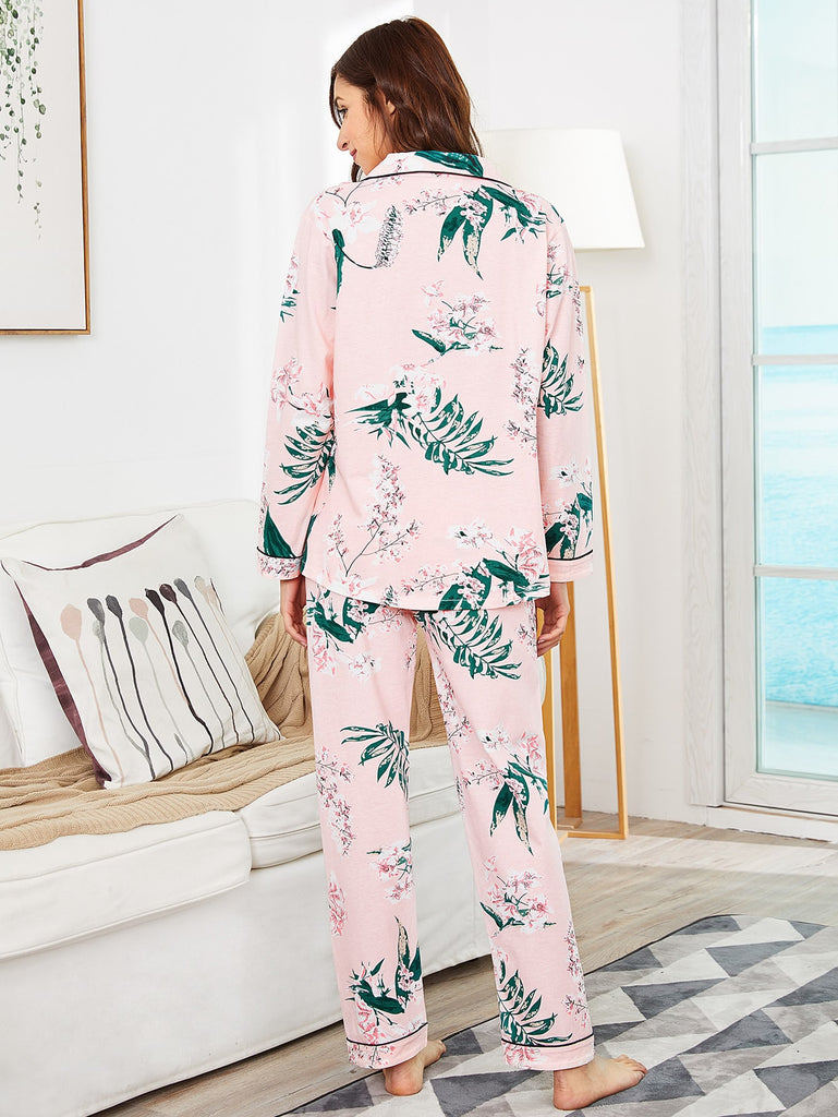 Botanical Print Shirt & Pants PJ Set