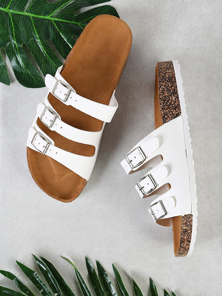 Three Buckle Strap Cork Footbed Flatform Sandal WHITE