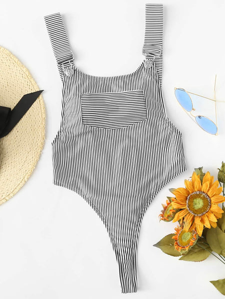 Striped High Leg Pinafore One Piece Swimsuit