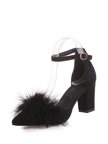Faux Fur Decor Chunky Heels