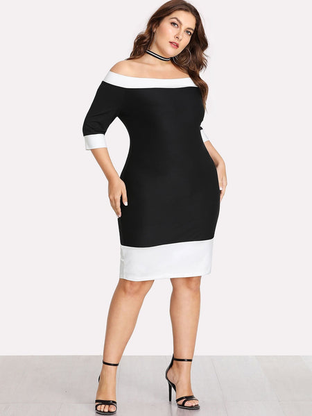 Plus Contrast Trim Bardot Dress