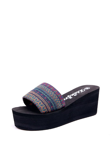 Tribal Print Wedge Slides