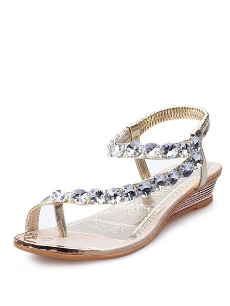 Rhinestone Design Toe Ring Sandals