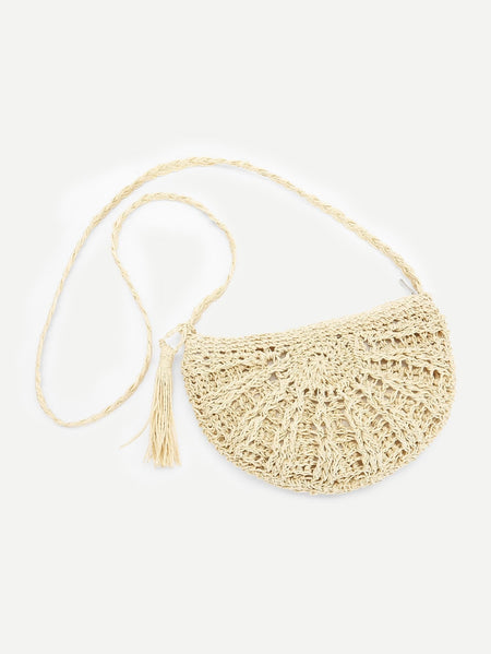 Tassel Detail Straw Crossbody Bag