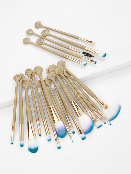Scallop Design Handle Cosmetic Makeup Brush 20Pcs