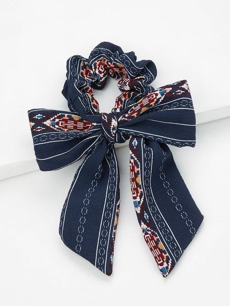 Chain Print Hair Tie With Bow