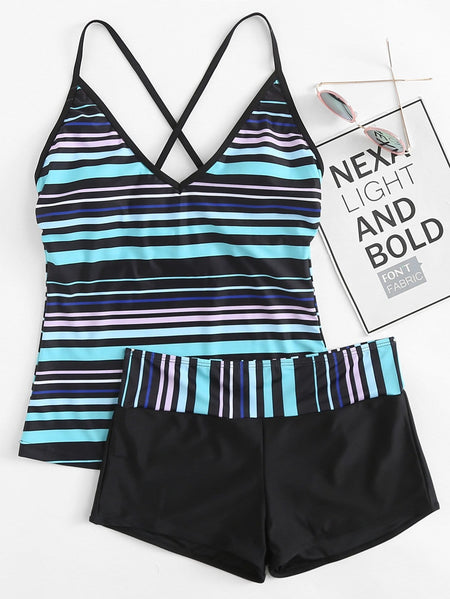 Striped Criss Cross Top With Shorts Tankini Set