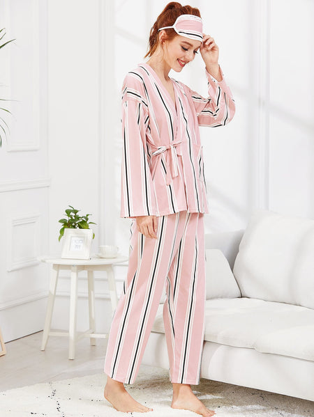 Wrap Striped Pajama Set With Eye Mask