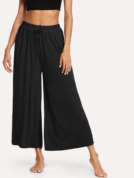 Solid Drawstring Wide Leg Pants