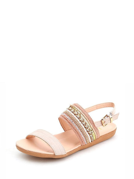 Braided Wide Strap Slingback Sandals