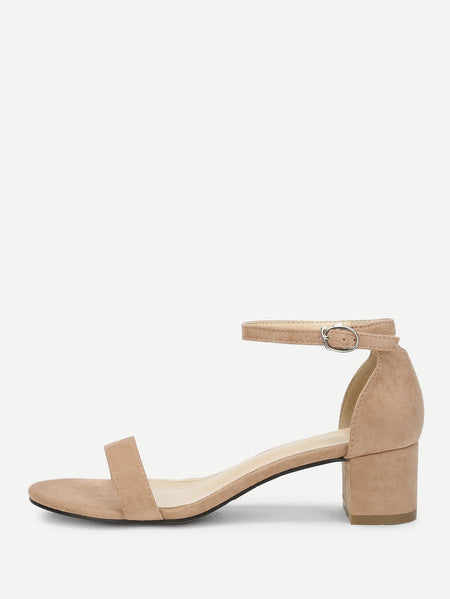 Ankle Strap Two Part Block-Heel Sandals