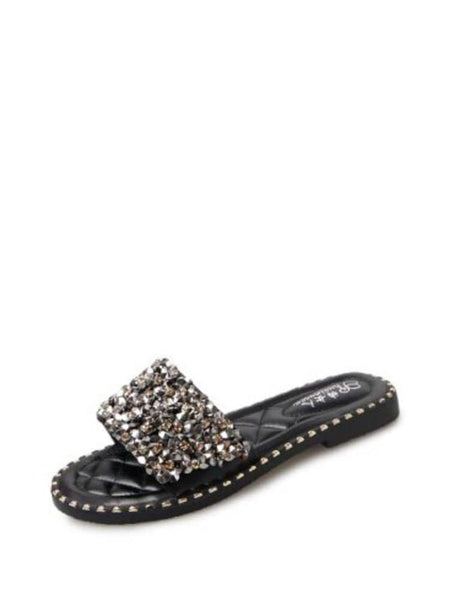 Open Toe Glitter Sliders