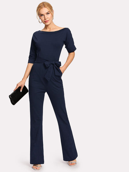 Oblique Neckline Button Jumpsuit With Belt