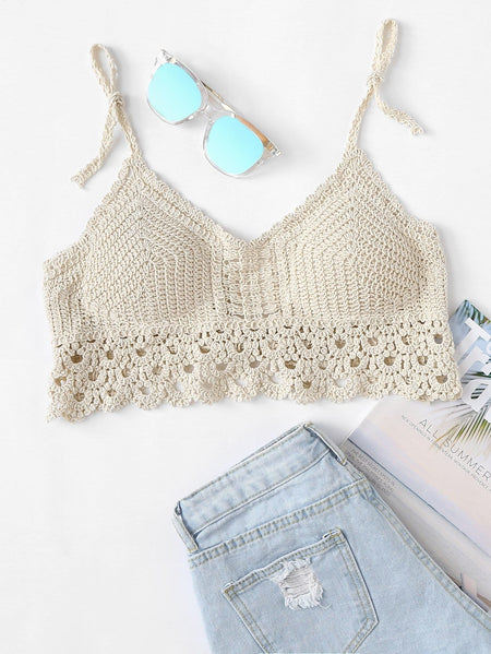 Scalloped Hem Self Tie Crocheted Halter Top