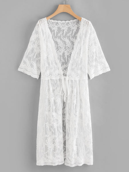 Lace Embroidery Knot Front Cover Up