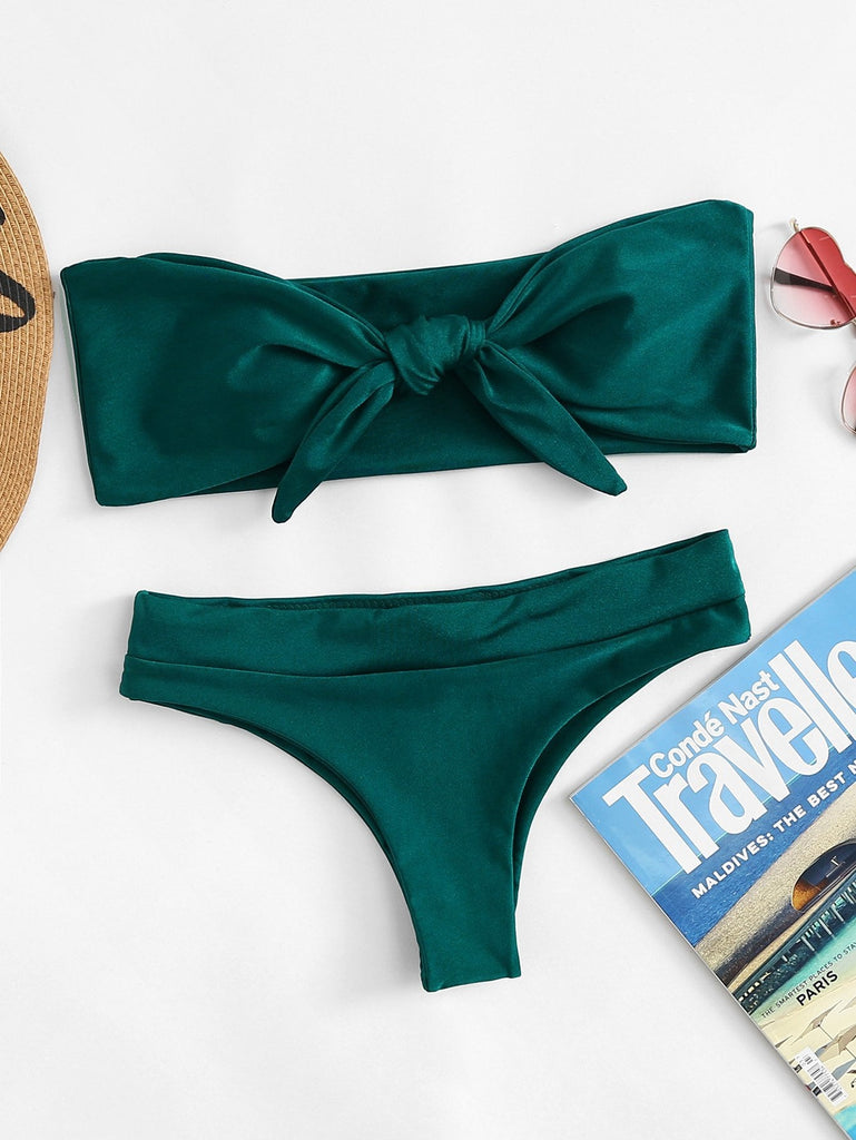 Bow Tie Front Bandeau Top With High Leg Bikini Set