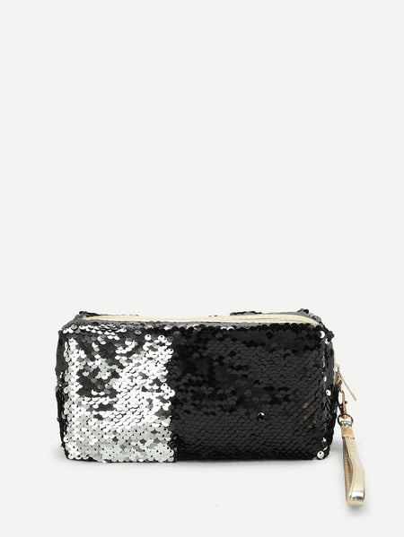 Sequin Makeup Bag With Wristlet