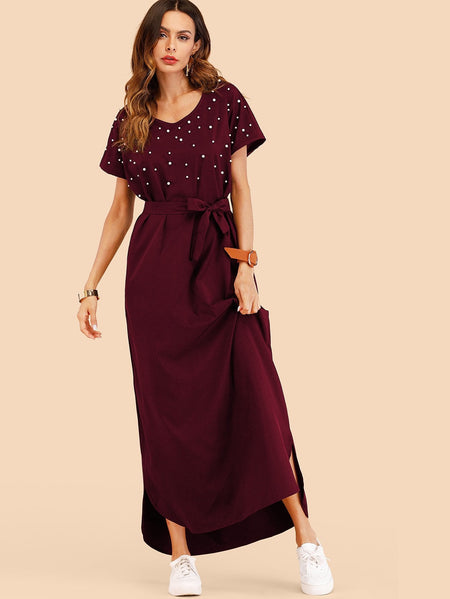 Faux Pearl Studded Belted Maxi Dress