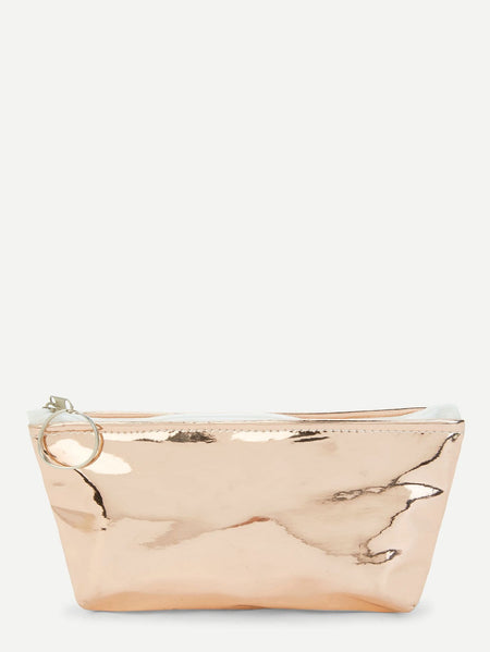 Metallic Makeup Bag With Ring