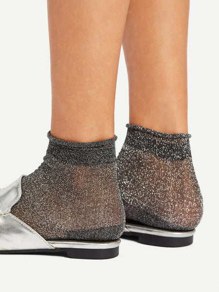 Glitter Design Rolled Ankle Socks