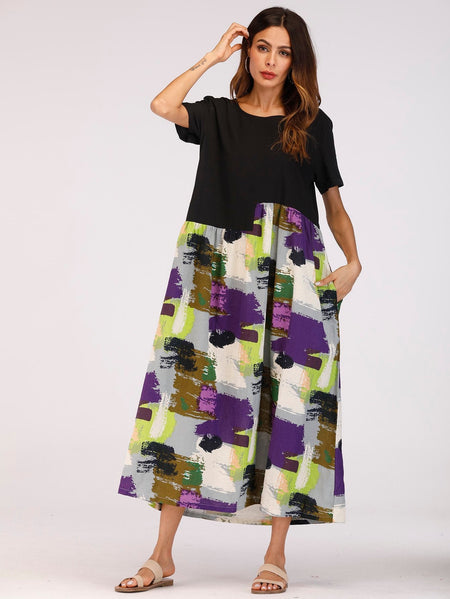 Spliced Brush Print Smock Maxi Dress