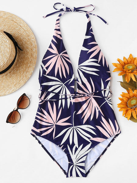 Leaf Print Self Tie Plunging One Piece Swimsuit