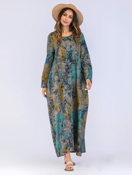 Tree Print Maxi Cocoon Dress