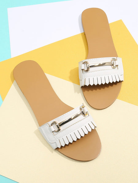 Metal Detail PU Flat Sandals