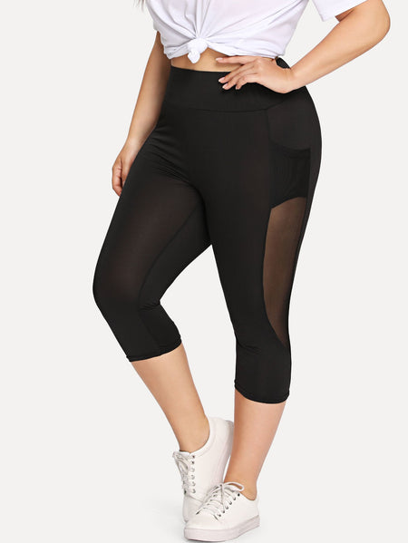 Plus Sheer Mesh Panel Short Leggings