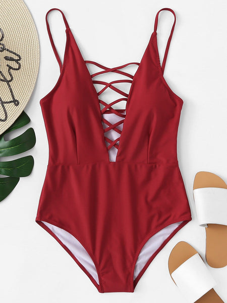 Criss Cross Plunging One Piece Swimsuit