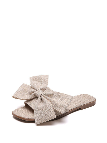 Oversized Bow Flat Slippers
