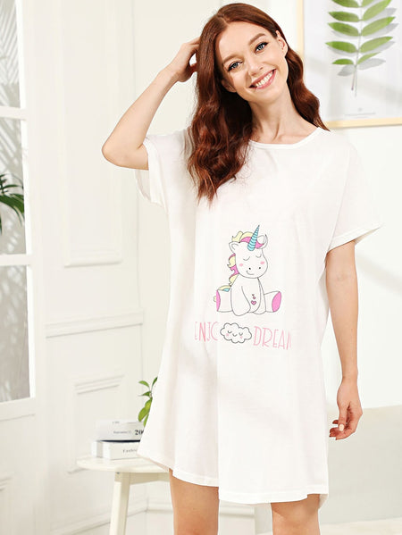 Unicorn & Cloud Print Night Dress